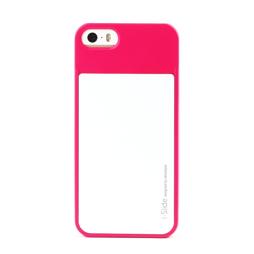 iPhone SE/5S/5対応 カード収納薄型ケース iSlide Hot Pink + White