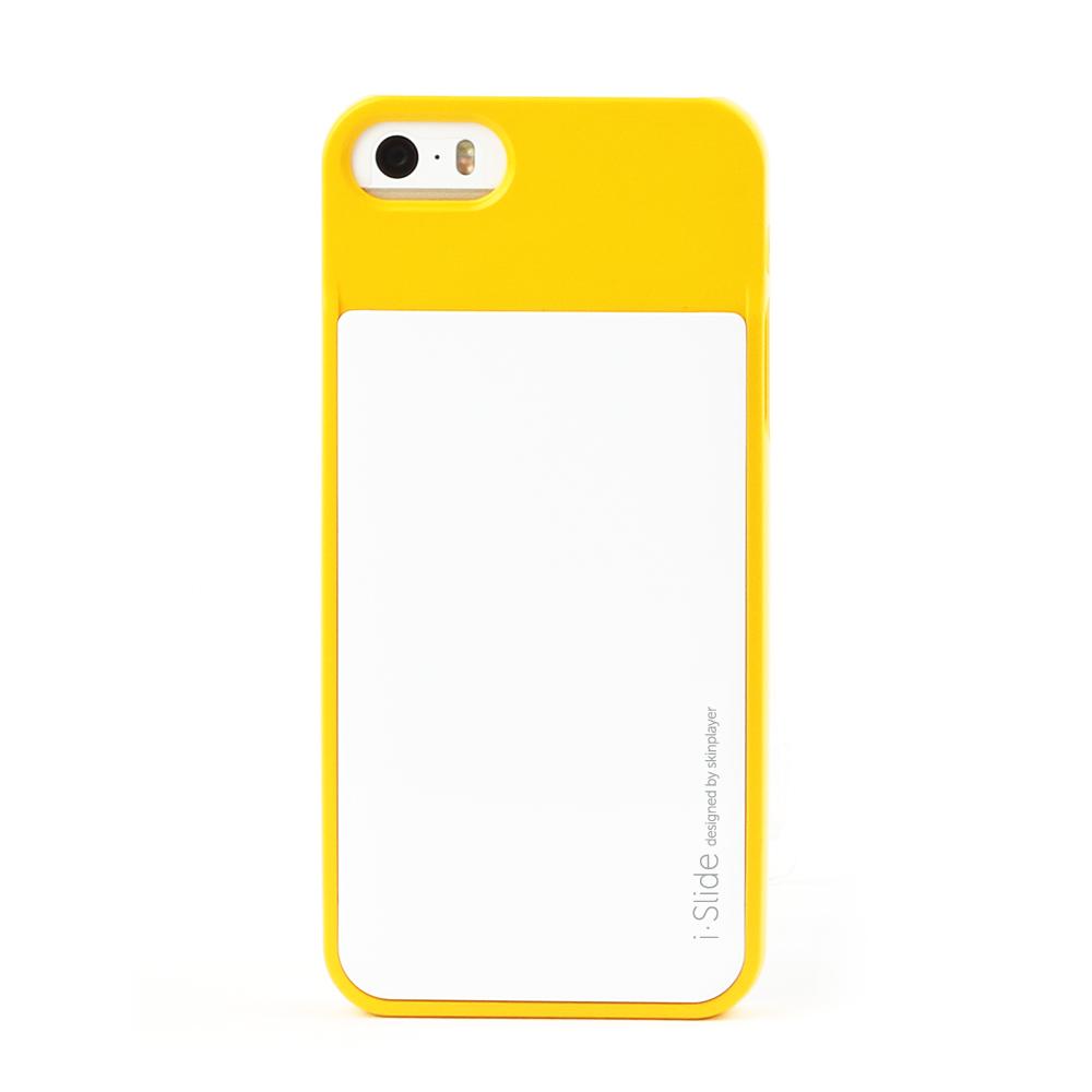 iPhone 5/5s対応 カード収納薄型ケース iSlide Yellow + White