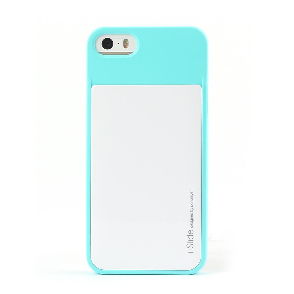 iPhone SE/5S/5対応 カード収納薄型ケース iSlide Mint + White