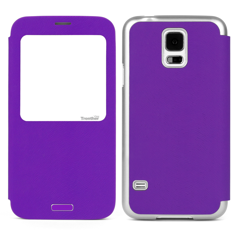 Trenther View Smart Flip for Galaxy S5 Purple