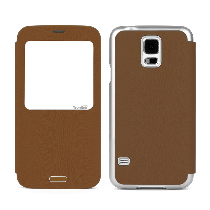 Trenther View Smart Flip for Galaxy S5 Brown