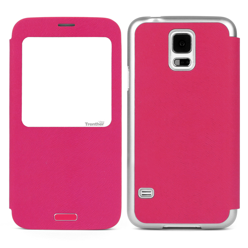 Trenther View Smart Flip for Galaxy S5 Pink