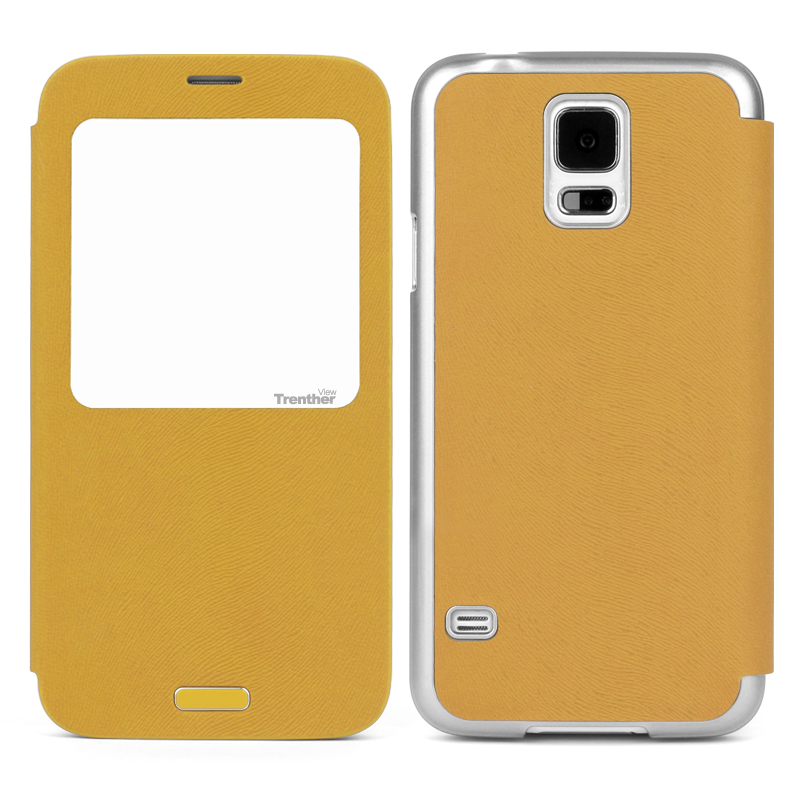 Trenther View Smart Flip for Galaxy S5 Gold