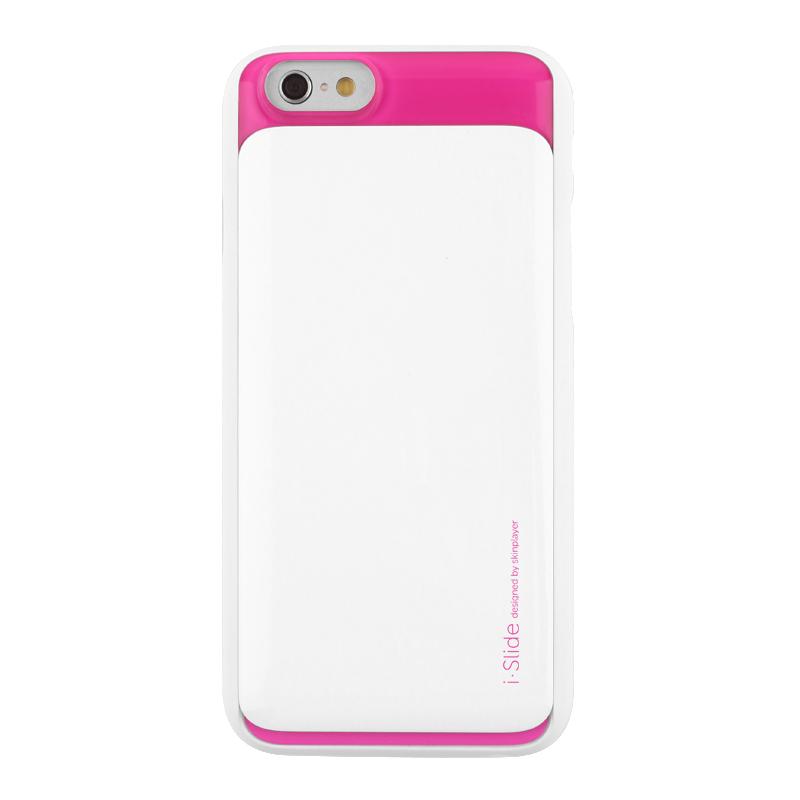 iPhone 6_6S [iSlide] カード収納型ハードケース White / Hot Pink