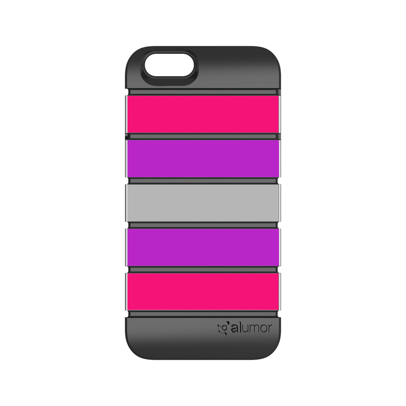 iPhone 6_6S [Alumor] ウレタン&アルミケース Hot Pink / Purple
