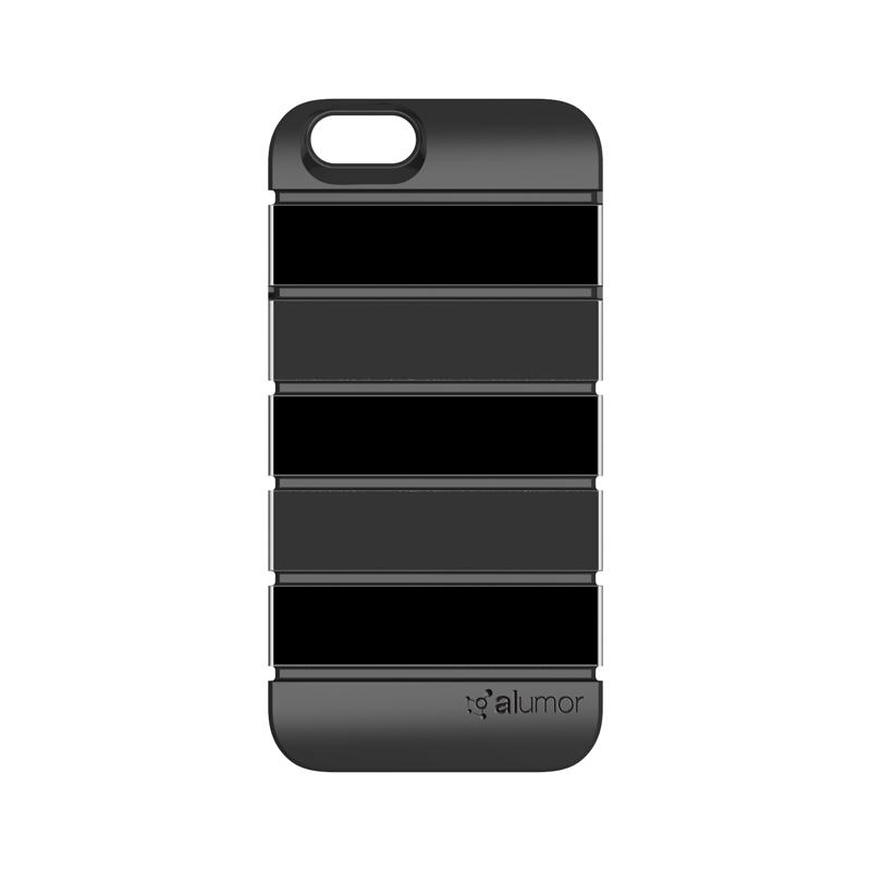 iPhone 6_6S [Alumor] ウレタン&アルミケース Black / Gray
