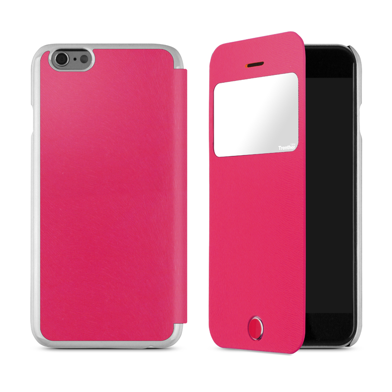 iPhone 6 [Trenther View Flip] PUレザーケース Pink