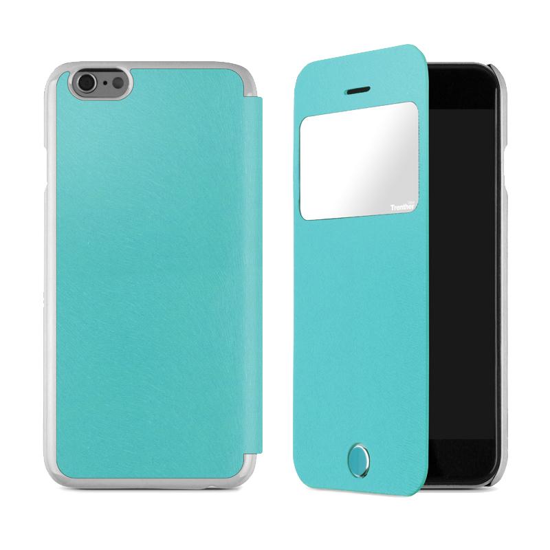 iPhone 6 [Trenther View Flip] PUレザーケース Emerald Green