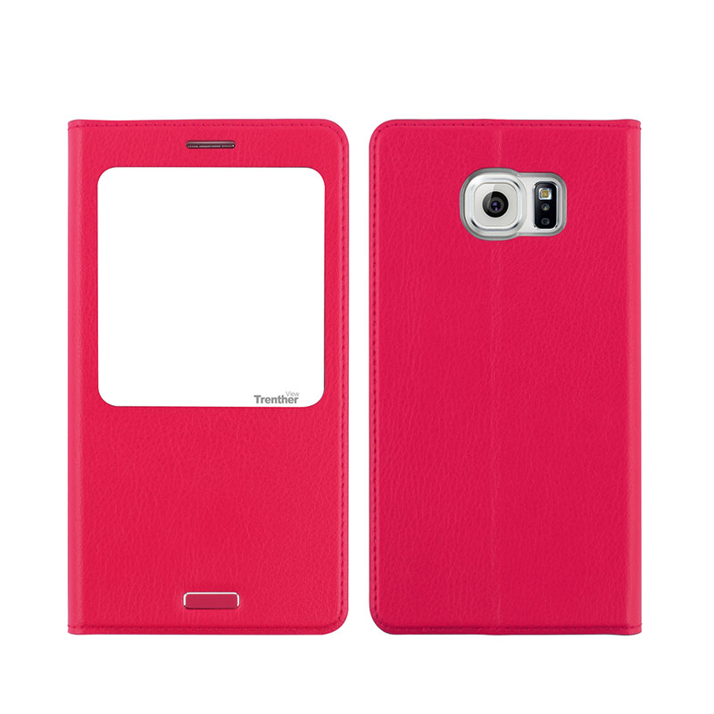 Galaxy S6 SC-05G [Trenther View Flip] PUレザーケース Pink