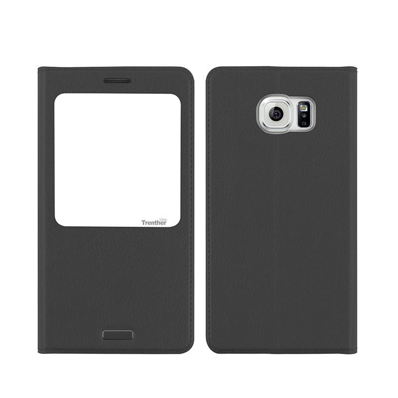 Galaxy S6 edge SC-04G/SCV31 [Trenther View Flip] PUレザーケース Gray