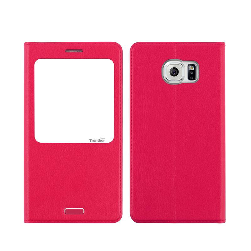 Galaxy S6 edge SC-04G/SCV31 [Trenther View Flip] PUレザーケース Pink