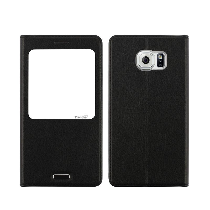 Galaxy S6 edge SC-04G/SCV31 [Trenther View Flip] PUレザーケース Black