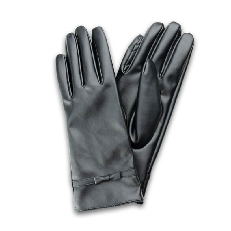 □スマートフォン(汎用) スマートフォン対応手袋「Lucy. Gloves」 ブラックレザー/リボン