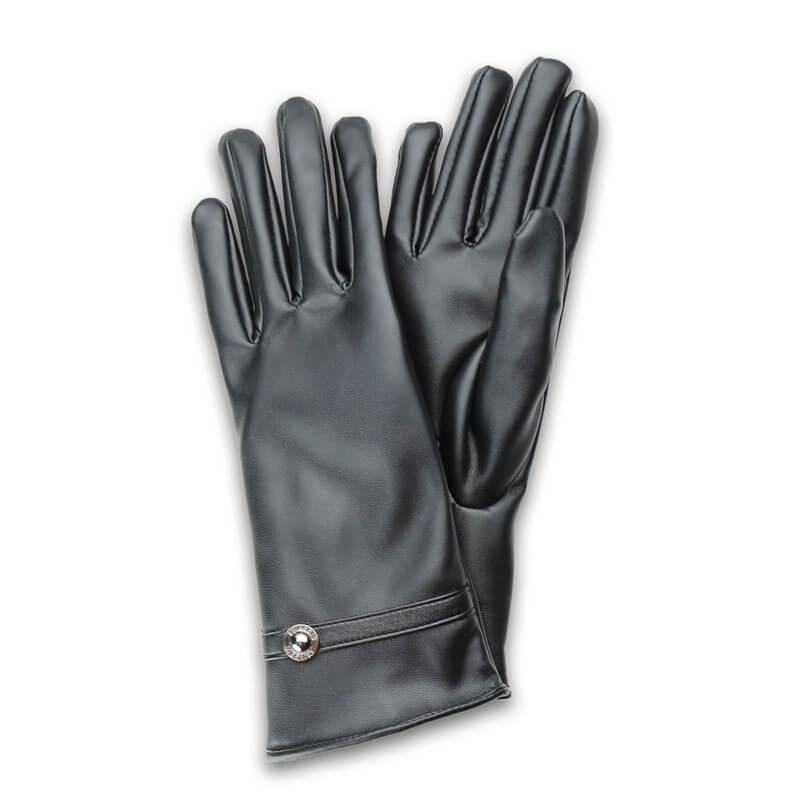 □スマートフォン(汎用) スマートフォン対応手袋「Lucy. Gloves」 ブラックレザー/ボタン
