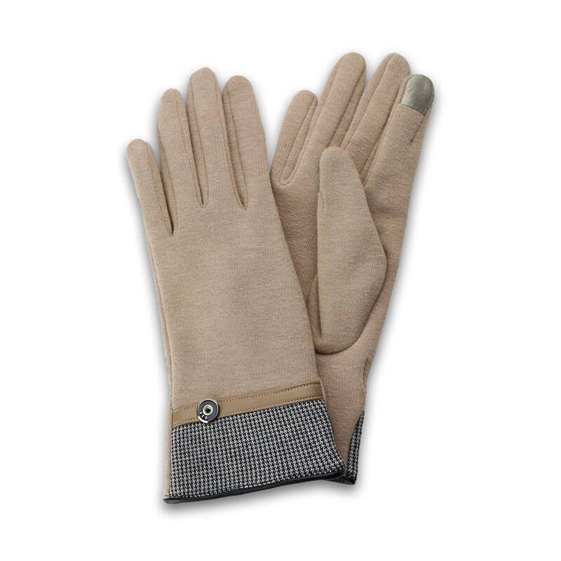 □スマートフォン(汎用) スマートフォン対応手袋「Lucy. Gloves」 千鳥格子/キャメル