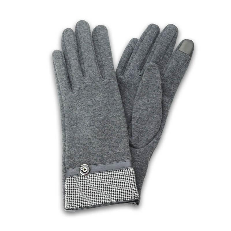 □スマートフォン(汎用) スマートフォン対応手袋「Lucy. Gloves」 千鳥格子/グレー