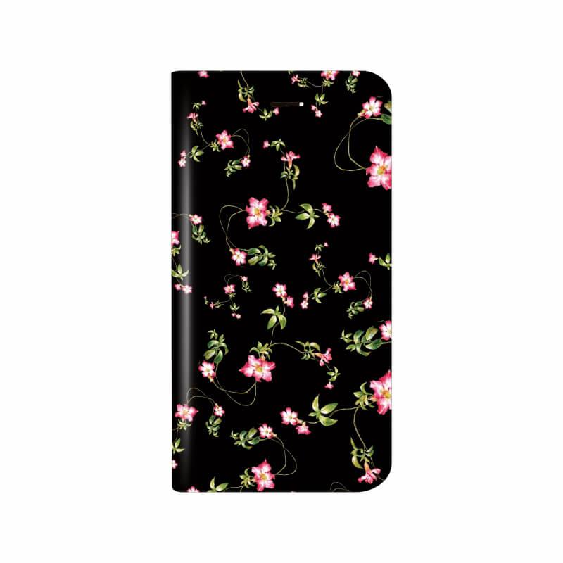 iPhone X 薄型デザインPUレザーケース「Design+」 Flower ブラック