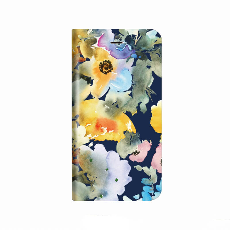 iPhone X 薄型デザインPUレザーケース「Design+」 Flower ネイビー