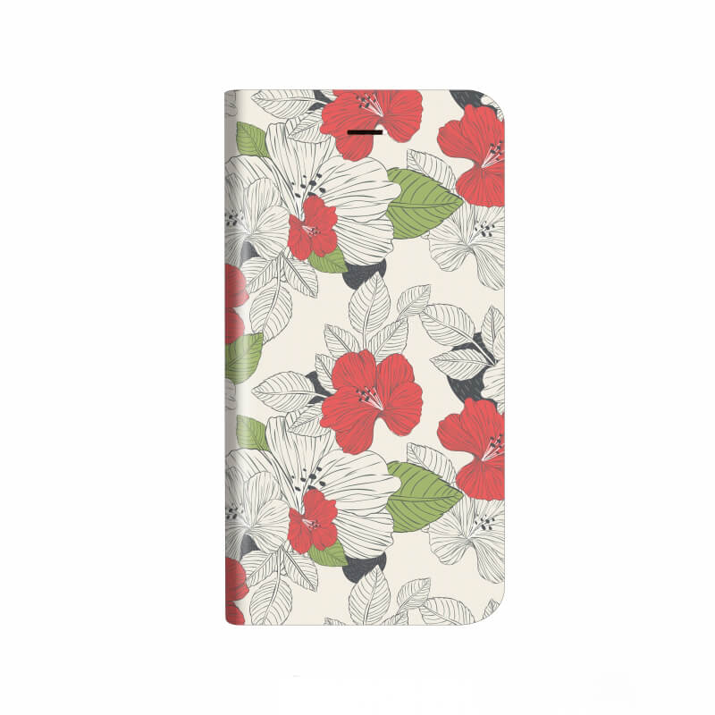 iPhone X 薄型デザインPUレザーケース「Design+」 Flower モダン