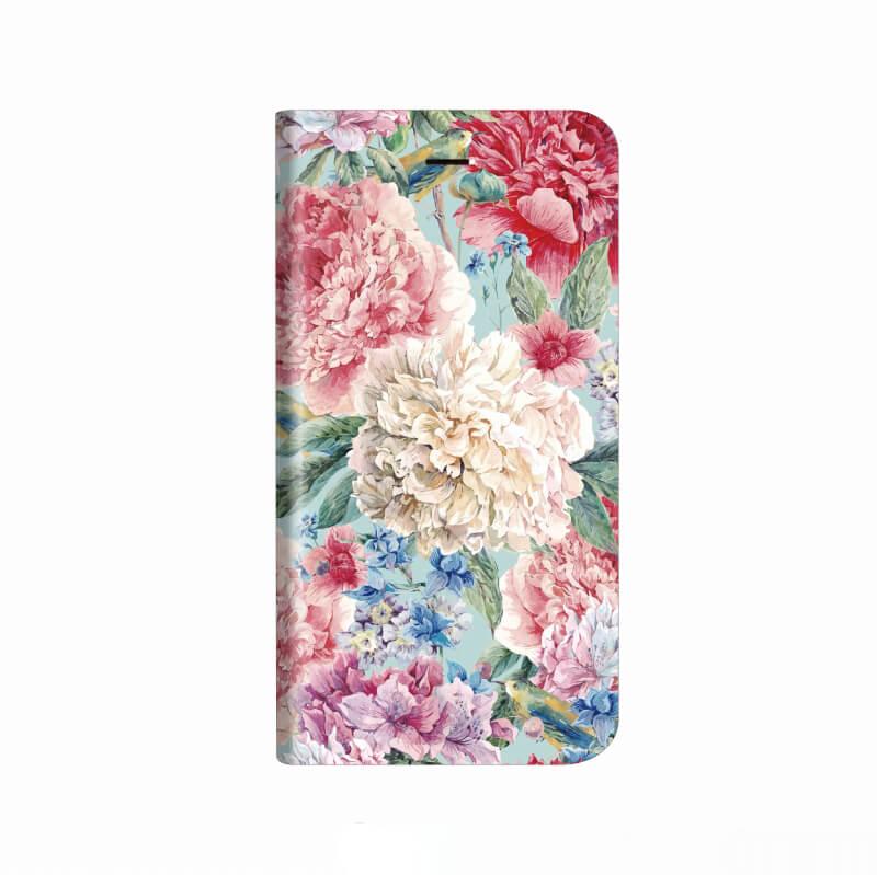 iPhone X 薄型デザインPUレザーケース「Design+」 Flower エレガント