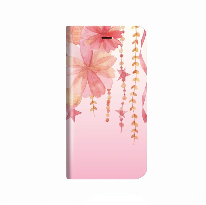 iPhone X 薄型デザインPUレザーケース「Design+」 Flower しだれ桜