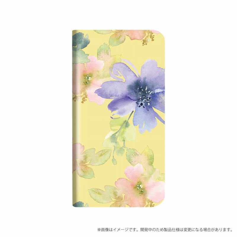 Xperia(TM) XZ1 SO-01K/SOV36/SoftBank 薄型デザインPUレザーケース「Design+」 Flower ライトイエロー