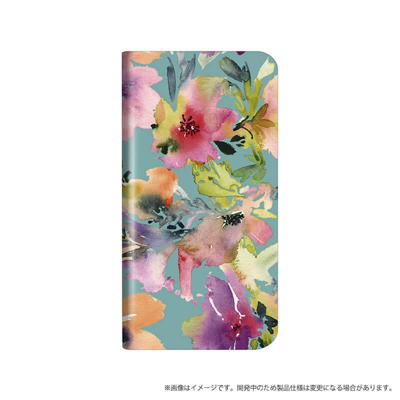 AQUOS R compact SHV41/SoftBank 薄型デザインPUレザーケース「Design+」 Flower カラフル