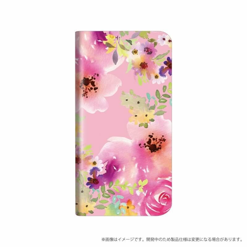 AQUOS R compact SHV41/SoftBank 薄型デザインPUレザーケース「Design+」 Flower ピンク