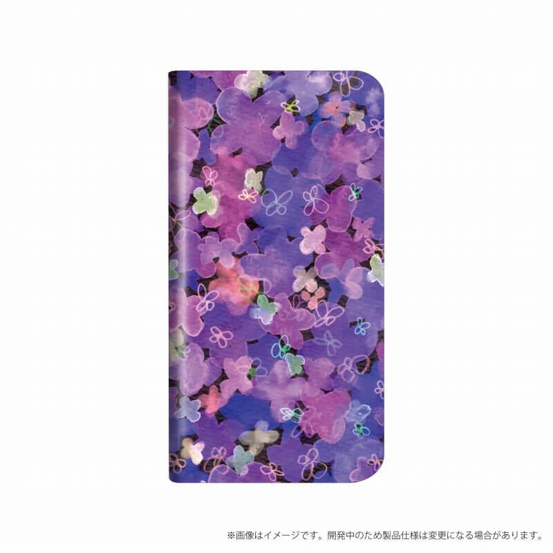 AQUOS R compact SHV41/SoftBank 薄型デザインPUレザーケース「Design+」 Flower パープル