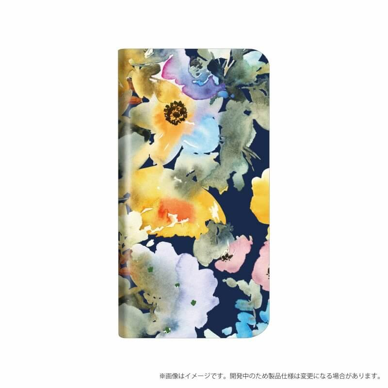 AQUOS R compact SHV41/SoftBank 薄型デザインPUレザーケース「Design+」 Flower ネイビー