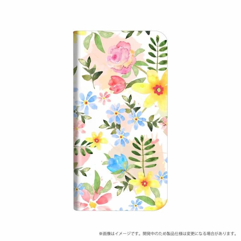 AQUOS R compact SHV41/SoftBank 薄型デザインPUレザーケース「Design+」 Flower ハッピー