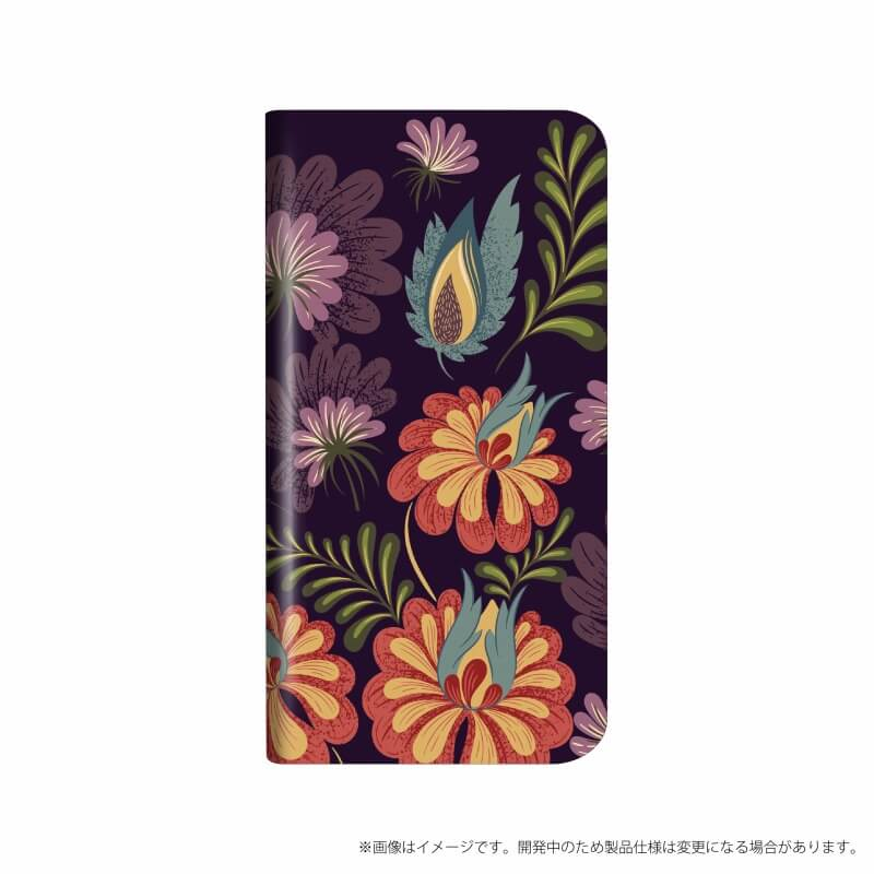 AQUOS R compact SHV41/SoftBank 薄型デザインPUレザーケース「Design+」 Flower アート