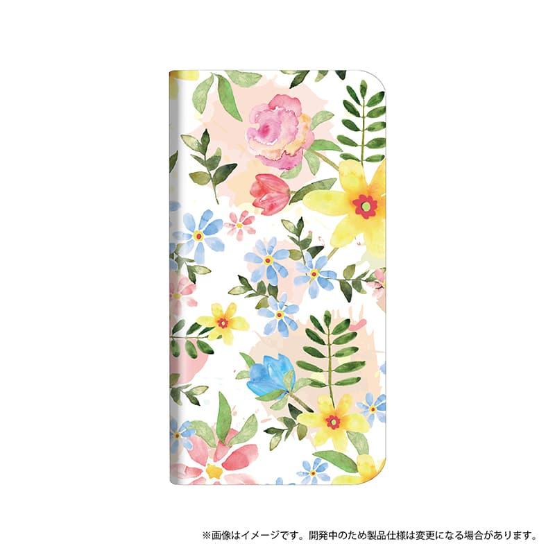 AQUOS R2 SH-03K/SHV42/SoftBank 薄型デザインPUレザーケース「Design+」 Flower ハッピー