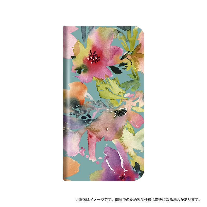 シンプルスマホ4 薄型デザインPUレザーケース「Design+」 Flower カラフル
