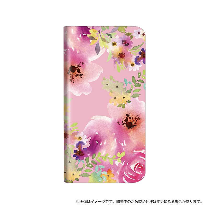 シンプルスマホ4 薄型デザインPUレザーケース「Design+」 Flower ピンク