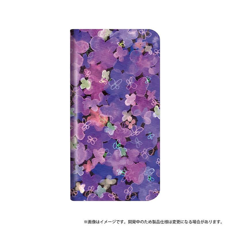シンプルスマホ4 薄型デザインPUレザーケース「Design+」 Flower パープル