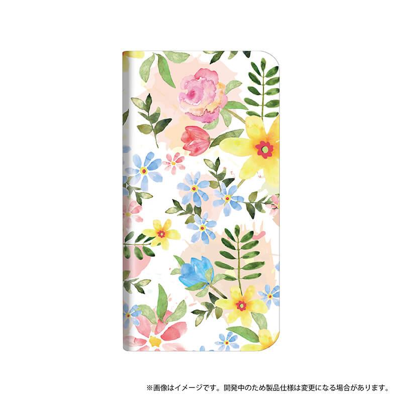 シンプルスマホ4 薄型デザインPUレザーケース「Design+」 Flower ハッピー
