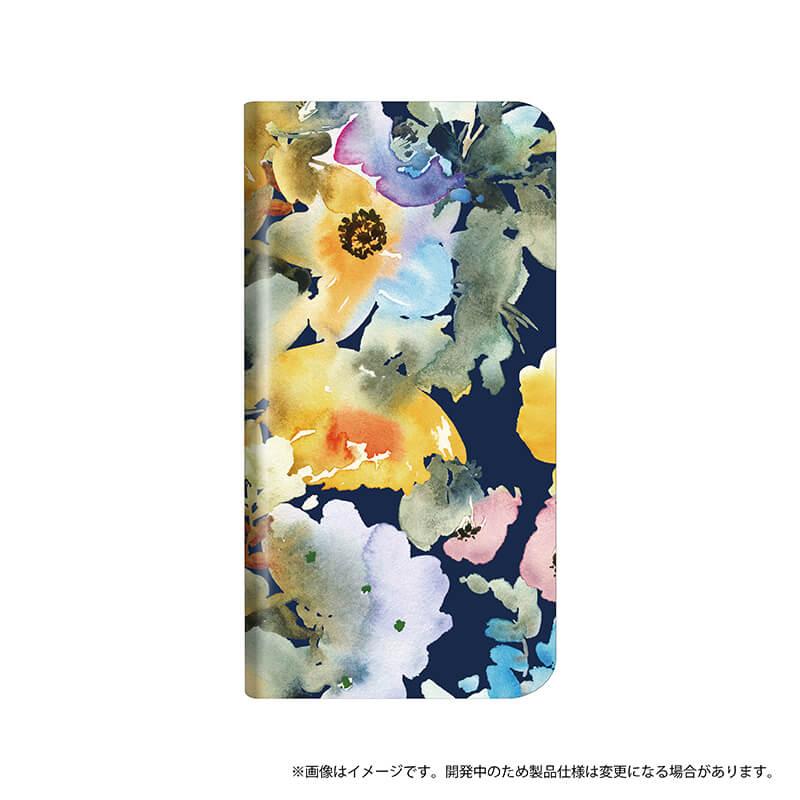 シンプルスマホ4 薄型デザインPUレザーケース「Design+」 Flower ネイビー