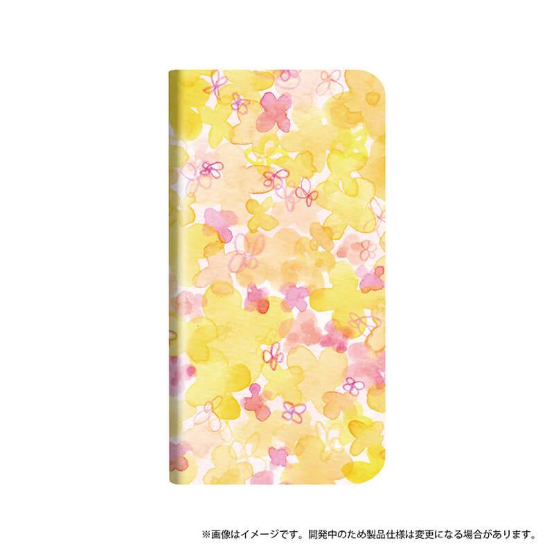 シンプルスマホ4 薄型デザインPUレザーケース「Design+」 Flower オレンジ