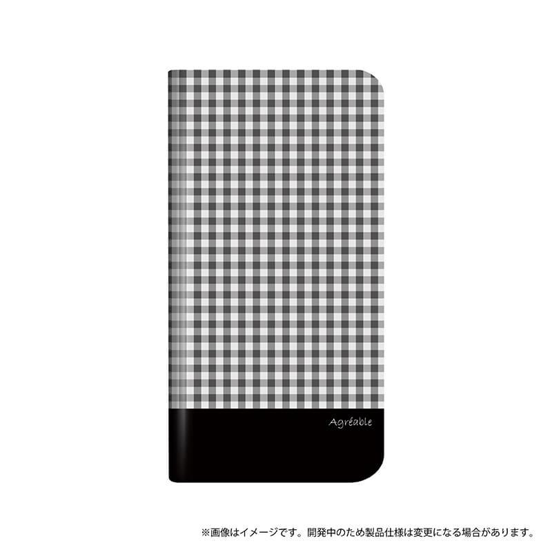 シンプルスマホ4 薄型デザインPUレザーケース「Design+」 モノトーンチェック