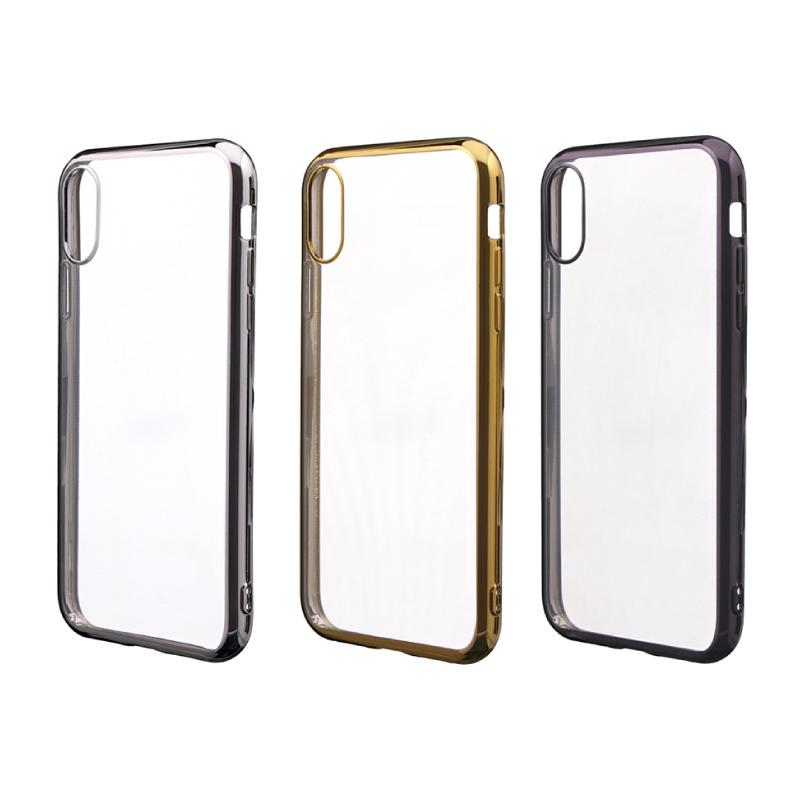 iPhone XR 「剛柔」 メタル塗装ソフトケース「メタルクリア」