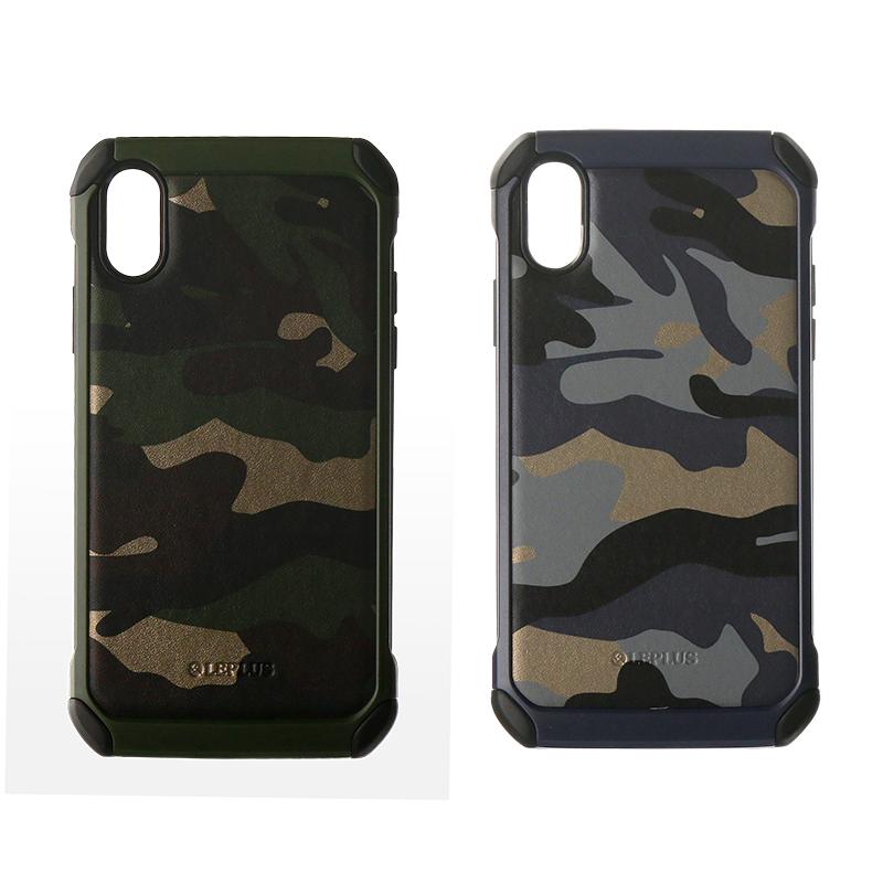 iPhone XS/iPhone X 耐衝撃ハイブリッドカモフラージュ柄ケース「SOLDIER」