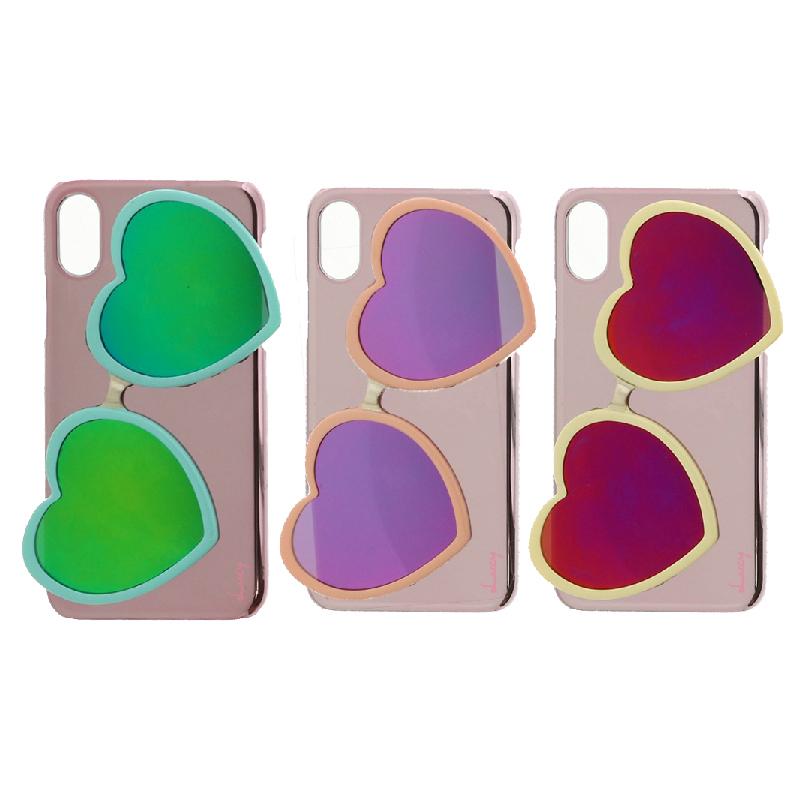 iPhone XS/iPhone X 【Lucy】ハートミラーサングラス付ハードケース