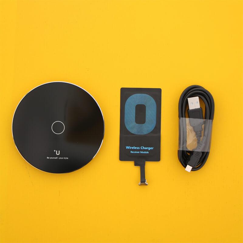 スマートフォン汎用【+U】Qi(チー)スターターキット/ワイヤレス充電アダプター(micro USB)+ワイヤレス充電器(シングルコイル)