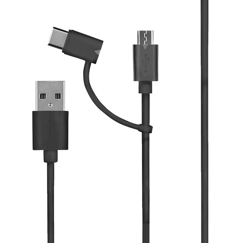 スマートフォン(汎用) 2in1ケーブル Type-C + microUSB 1.0m ブラック