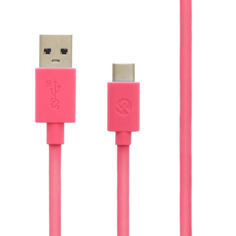 スマートフォン(汎用) USB A to Type-C(USB 3.1 Gen2) ケーブル 1.0m ピンク