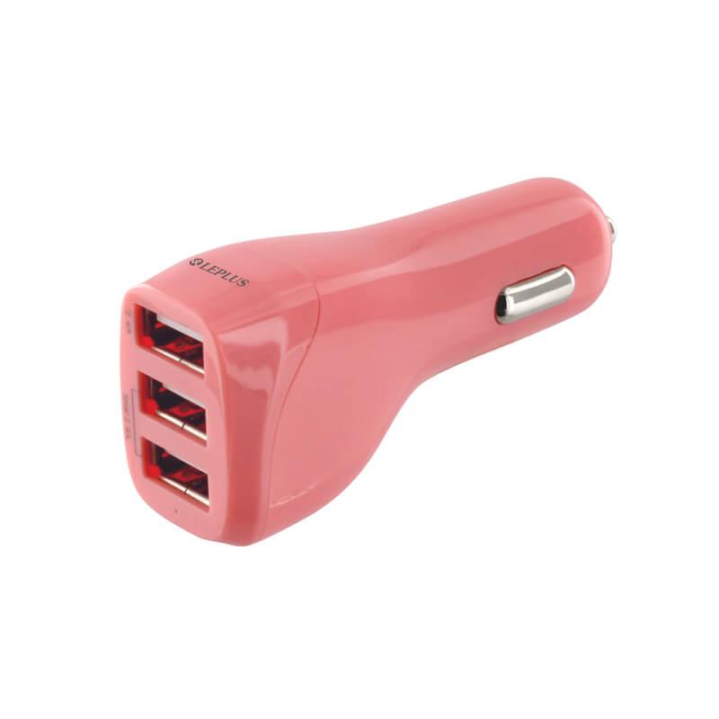 スマートフォン(汎用) DC充電器 USB3ポート充電器 最大出力4.8A ピンク