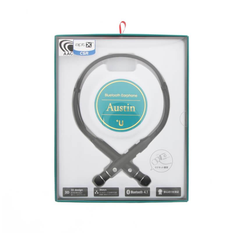 スマートフォン(汎用) 【+U】Austin/aptX・AAC対応/Bluetoothイヤホン/マットブラック